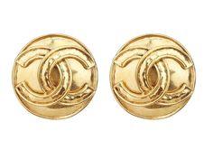 Vintage Chanel Raised Logo Earrings