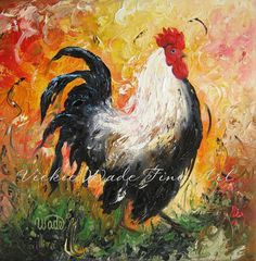 ROOSTER Original Oil Painting rooster by VickieWadeFineArt on Etsy, $95.00