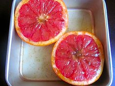 Broiled grapefruit, looks yummy- was delicious, quick, easy, and comforting.