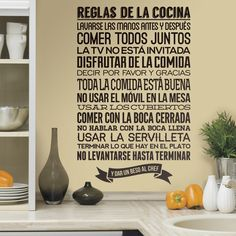 Reglas de la Cocina - VINILOS DECORATIVOS Kitchen Rules, Kitchen Decor, Cheap Wall Stickers, Wall Decals, Spanish Kitchen, Bakery Design, Wall Patterns, Box Art, Foyer