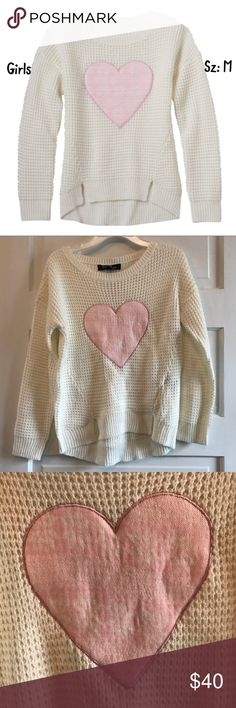 💫NWT🍂Fall Girls Sugar Rush ❤️ Sweater Sz:M🦄 New Girls Sugar Rush Heart Sweater Sz: M in Ivory.  Brand new w Tags, Retail: $40.  Saves you $3 in tax.  Priced to sell... do not low ball! Sugar Rush Shirts & Tops Sweaters