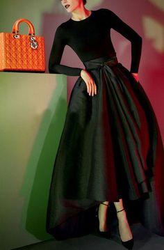Black Plain Pleated Irregular Dovetail Bow High Waist Palace Style Long Tutu High-Low Skirt
