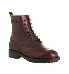 Poste Mistress Hazel Brogue Boot Burgundy Leather - Ankle Boots