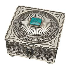 Navajo box from artist Sunshine Reeves, one-off, Candelaria turquoise set in silver. | Harpo Paris