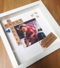 Daddy daughter personalised photo frame by LittleThingsByLucy gifts for dad Daddy Daughter Frame- Fathers Day Gift- Daddy Gift- Photo Frame- Scrabble Frame- Free Photo Printing- Personalised Frame- Dad Gift- Birthday Diy Gifts For Dad, Diy Father's Day Gifts, Father's Day Diy, Daddy Gifts, Christmas Present Ideas For Mom, Diy Dad Gifts From Daughter, Diy Birthday Gifts For Dad, Best Gifts For Men, Christmas Diy