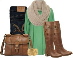Green Gold With Denim - Polyvore