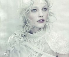 Russian ice princess Sasha Pivovarova in 'A White Story' lensed by Paolo Roversi for Vogue Italia April 2010 Sasha Pivovarova, Paolo Roversi, Snow Queen, Ice Queen, Jean Paul Goude, Portrait Photography, Fashion Photography, Fantasy Photography, Editorial Photography