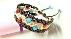 Macrame bracelet tutorial - The triple band with linking beads - Hướng d...