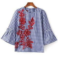 Flare Sleeve Checked Embroidered Blouse - PLAID L