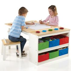 This sturdy and attractive art center allows children to get creative in a fun way. The ideal work space for children, this table features an easy to clean surface and rounded edges for safety. Ships in 2-3 business days.