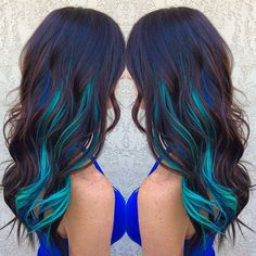 Brown Hair WIth Blue and Turquoise Streaks