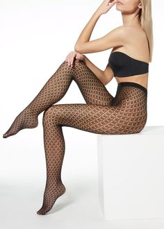 Fishnet tights with geometric pattern - Calzedonia Sock Shop, Fishnet Tights, Stocking Tights, Hosiery, Stockings, Fancy, Leggings, Pattern, How To Wear