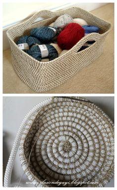 Diy Crochet Rope Basket, Knit Basket, Basket Weaving, Knit Or Crochet, Crochet Crafts, Crochet Patterns, Crochet Tutorials, Free Pattern, Ideas