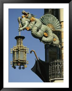 Photographic Print: Carved Chinese Dragon with Fan and Lantern by Richard Nowitz : Barcelona Sights, Barcelona Catalonia, Barcelona Travel, Barcelona Architecture, Art And Architecture, Begur Costa Brava, Madrid, Year Of The Dragon, Antoni Gaudi