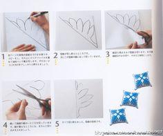 Eu Amo Artesanato: Quilt havaiano (Patchwork) passo a passo e com molde Tutorial Patchwork, Hawaiian Quilts, Triangle, Patches, Tattoos, Cards, Hawaiian, Molde, Craft