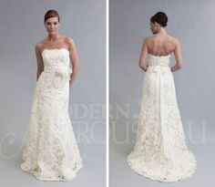 apparently i am obsessed with lace wedding dresses... the flower sash on this one is a favorite