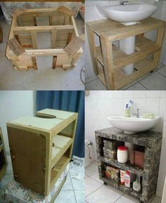 Best Kitchen Wood Diy Bathroom Ideas - Home Decor Diy Bathroom, Small Bathroom Storage, Wall Storage, Bathroom Organization, Bathroom Vanities, Diy Casa, Diy Holz, Rustic Shelves, Easy Home Decor