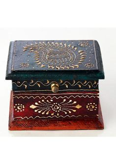 This antique finish wooden box has golden leaves embossed on the surface. Handcrafted boxes is a speciality of Jodhpur. Wooden Boxes, Ethnic, Decorative Boxes, Antiques, Metal, Floral, Wood Boxes, Antiquities, Wooden Crates