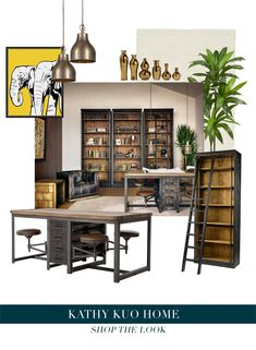 A Modern Office Space that Looks Like an Urban Loft. Shop the look at Kathy Kuo Home! Industrial Office Design, Urban Industrial, Home Office Design, Loft Shop, Desk Styling, Loft Office, Urban Loft, Work From Home Opportunities, Office Furniture