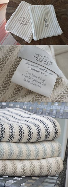 The Wesley Forever Blanket {throw} from Swell Forever. Unique, personalized heirloom blankets Made in USA. Custom wedding dates, birth stats, lyrics, personal messages and more. Monogramming available. Navy, light blue and khaki stripes. 100% cotton. Machine washable. Weddings, bridesmaid gifts, gifts for couples, congratulations and thank you gifts, corporate gifting, work anniversary, promotion gifts, cotton anniversary, bride gifts, parent gifts, grandparents, birthdays, best friend…