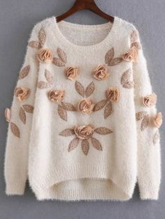 SheIn offers Apricot Flower Embellished Dip Hem Mohair Sweater & more to fit your fashionable needs. Cute Sweaters, Long Sweaters, Cardigan Sweaters, Long Cardigan, Girls Fashion Clothes, Fashion Outfits, Cardigans For Women, T Shirts For Women, Mohair Sweater