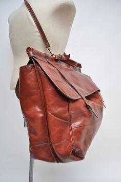 4c3480d8a4 Vintage leather duffle bag carry on weekender travel luggage weekender duffel  large saddle bag