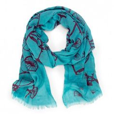 Bicycle print scarf - Turquoise