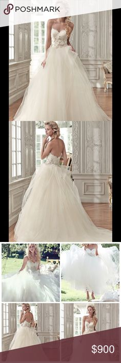 🆕She said Yes 🎶Wedding Dress💍🍾💒❤️ ARACELLA~ Elegant glamour is found in this stunning ball gown, featuring a voluminous tulle skirt, romantic sweetheart neckline, and lace bodice, accented with metallic embroidery and glittering Swarovski crystals. Finished with pearl buttons over zipper and inner corset closure. Elegant glamour in this stunning wedding dress. The dress is a size 6 in very good condition. It was purchased new in July of 2016 and worn once. maggie sottero Dresses Wedding