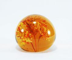 Vintage Art Glass Paperweight in Amber, Yellow, and Orange Flower Burst, Vintage Hand blown Glass Paper Weight, Orange Glass - pinned by pin4etsy.com