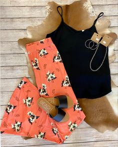 #summeroutfit #ootd #boutique Coral Print, Cute Graphic Tees, Flare Pants, Nice Tops, Fashion Boutique, Bikinis, Swimwear, Summer Outfits, Dress Up