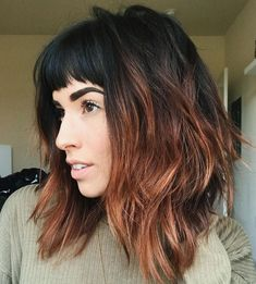 Black+And+Copper+Shag+With+Bangs