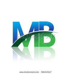 initial letter MB logotype company name colored blue and green swoosh design. vector logo for business and company identity.
