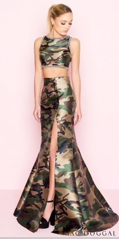 de20e2287ea Make statement in this rhinestone camouflage two piece trumpet prom dress  by Mac Duggal.