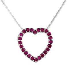 Sterling Silver Red Cz Heart Slide On 18 Chain Necklace Shop4Silver. $30.24