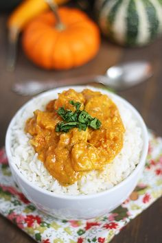 Pumpkin Coconut Curry Chicken with Rice--perfect fall dinner! I am making this tomorrow night (with brown basmati rice)!
