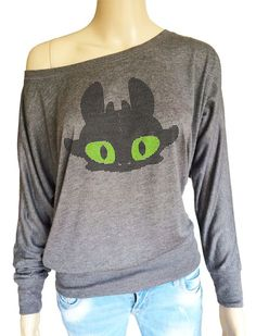 How to train your dragon inspired Ladies TOOTHLESS Long Sleeve top with crystals by iganiDesign on Etsy