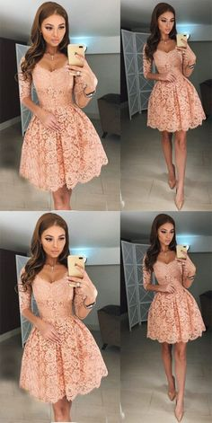 homecoming dresses,homecoming dress, pink homecoming dress,short homecoming dress · HerDresses · Online Store Powered by Storenvy Lace Homecoming Dresses, Hoco Dresses, Dance Dresses, Pretty Dresses, Beautiful Dresses, Long Sleeve Dresses, Homecoming Outfits, Homecoming Ideas, 1950s Dresses