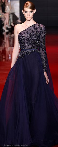 Elie Saab Haute Couture, a dark and mysterious-looking dress which is sleeveless on one shoulder.