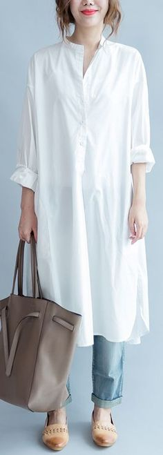 ec21d0a44b7 2018 white cotton maxi dress Loose fitting stand collar cotton dress top  quality side open caftans