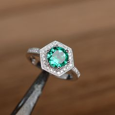 emerald ring engagement ring promise ring  birthstone ring sterling silver ring gemstone lab emerald by godjewelry on Etsy https://www.etsy.com/listing/214234885/emerald-ring-engagement-ring-promise