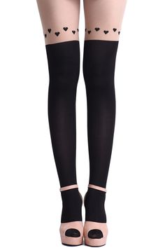 For a romantic date out! Dual-tone tights from #ROMWE