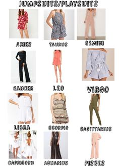 I made one other 1 ~ this time with jumpsuits/playsuits ♡ Zodiac Signs Chart, Zodiac Signs Sagittarius, Zodiac Star Signs, Zodiac Horoscope, Taurus, Zodiac Art, Virgo Outfits, Zodiac Clothes, Zodiac Sign Fashion