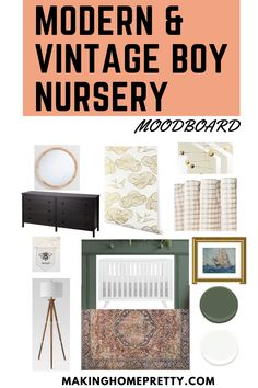 Check out my mood board and design plan for this Modern & Vintage Baby Boy Nursery! I will be doing a DIY board and batten accent wall with wallpaper and incorporating green paint. I can't wait to get started on it! Vintage Baby Boy Nursery, Vintage Baby Boys, Baby Boy Nursery Themes, Baby Boy Rooms, Baby Boy Nurseries, Boys Room Design, Nursery Design, Kids Room Furniture, Nursery Inspiration