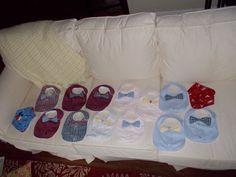 Bow Tie Bib and Burp Cloth I LOVE Surprises by BabySparrowInc