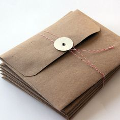 6 Kraft Envelopes with Button Tie Closure A2 Size by 42things For small orders or thank you notes, so cute.