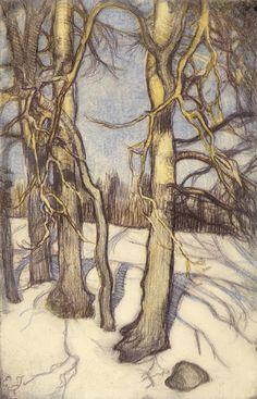 Talvisia puita (Tree in Winter) Eero Järnefelt, 1915 Helene Schjerfbeck, Scandinavian Paintings, Scandinavian Art, Academic Art, Nature Illustration, Colorful Artwork, Tree Forest, Winter Trees, Paintings I Love