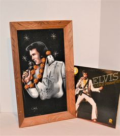 Vintage Elvis Starburst Painting with Frame Vintage Closet, Vintage Boots, Vintage Black, Velvet Painting, Wood Wall Decor, Black Velvet, Rockabilly, Compliments, Carving