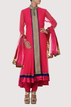 Pink net suit with asymmetric hem and mandarin collar. Shop Now: www.karmik.in/shopping/index.php