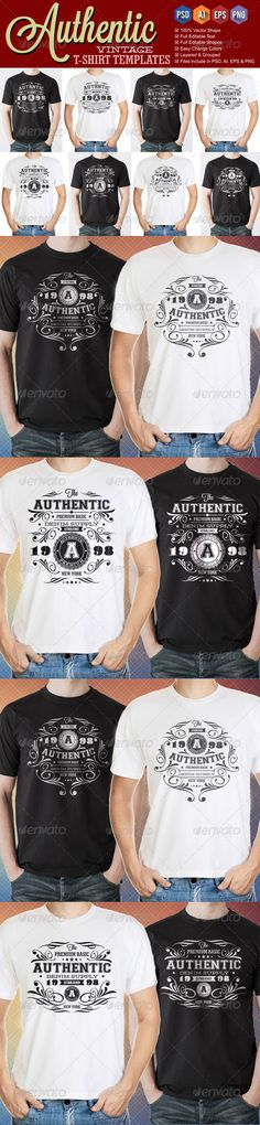 Authentic Vintage T-Shirt Templates PSD, Vector EPS, AI. Download here: http://graphicriver.net/item/authentic-vintage-tshirt-templates/7750315?ref=ksioks