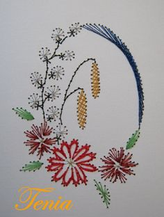 haft matematyczny - kuchnia i pasja Embroidery Cards, Hand Embroidery Art, Flower Embroidery Designs, Embroidery Patterns, Quilling Patterns, Card Patterns, Stitching On Paper, Sewing Cards, String Art Patterns
